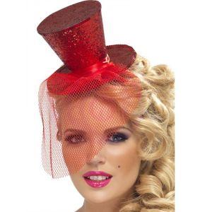 Mini Top Hat on Headband - Red