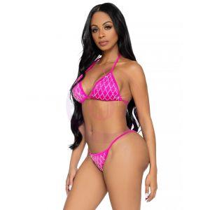 2 Pc Domino Bikini Set - Fuchsia - Medium
