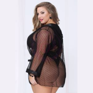 Dotted Mesh Robe - Queen Size - Black