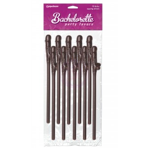 Bachelorette Party Favors 10 Dicky Sipping Straws Brown