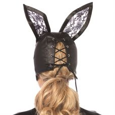Faux Leather Bunny Mask With Lace Ears - Black