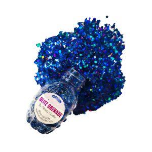Poseidon Blue Cosmetic Glitter Glitz Grenade Keychain in Aloe Gel