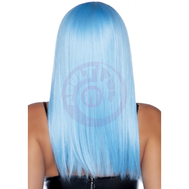 24 Inch Long Straight Bang Wig Blue