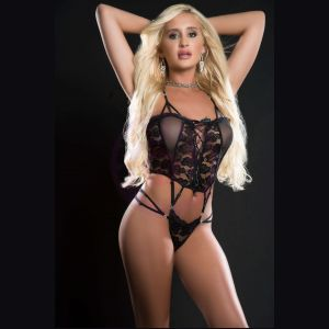 1pc Butterfly Teddy With Daring Lace -Up Front  Thong and See-Through Detail - One Size - Blackout