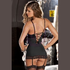2 Piece Lace and Mesh Hollywood Chemise and G-String - Small/ Medium - Black