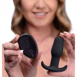 Silicone Anal Plug With Remote Control - Black