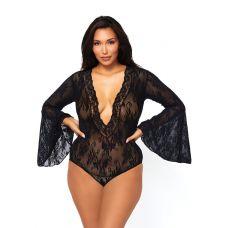 Bell Sleeve Bodysuit - Queen Size - Black
