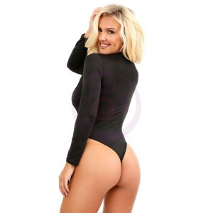 Up All Night Long Sleeve Opaque Bodysuit With  Snap Closure - One Size
