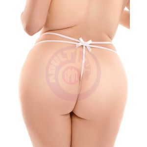 Hookup Panties Remote Bow-Tie G-String - White - XL - Xxl