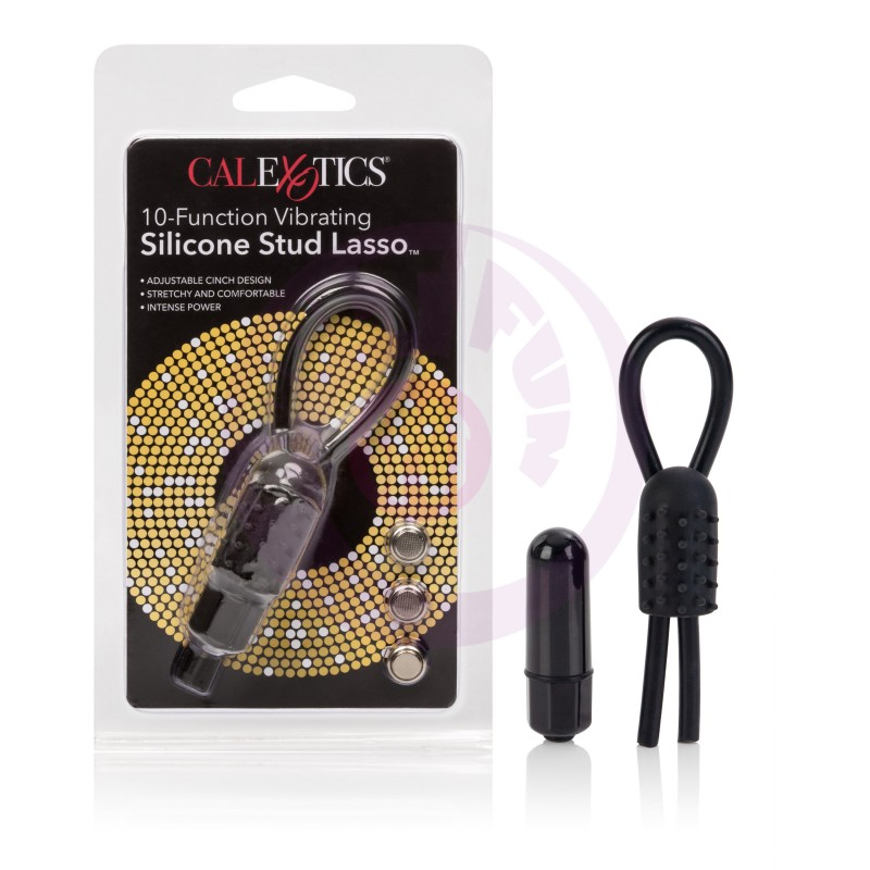 10-Function Vibrating Silicone Stud Lasso - Black