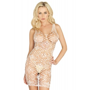 Bordeaux Net Bodycon Dress - One Size  - White