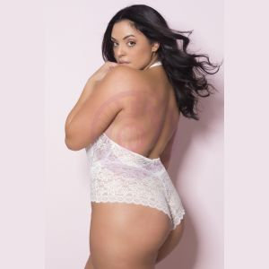 Soft Lace Collared Teddy With Front Keyhole and  Open Back - 1x/2x - White