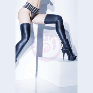 Wet Look Stocking - Black - One Size