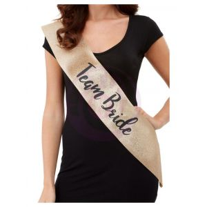 Deluxe Glitter Team Bride Sash - Gold and Black