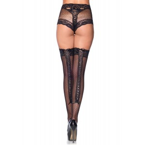 2 Pc Lace Trimmed Corset Lace Up Back Thigh High With Matching Panties - One Size