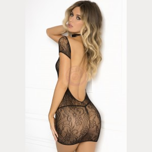 Cold Shoulder Lace Bodystocking  - Medium/ Large - Black