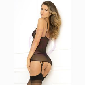 2 Pc Caged Lace Garter Chemise and  G-String Set - Small/medium - Black