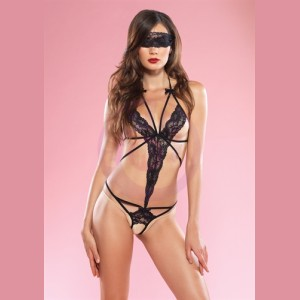 Cage Strap Lace Teddy With Blindfold - One Size - Black