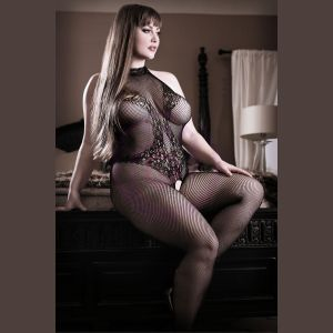 Back to Black Lace Bodystocking With Ornate  Tattoo  - Black - Queen