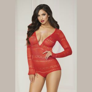 Knit Long Sleeve Romper - Medium - Red
