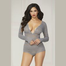 Knit Long Sleeve Romper  - Small  - Grey
