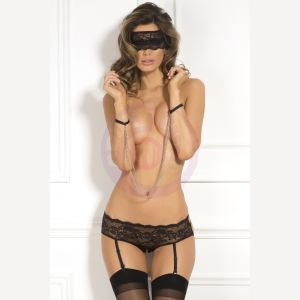 3 Pc Crotchless Panty & Mask Set - Small/ Medium