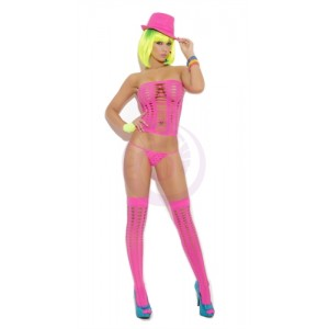 3 Piece Pot Hole Bandeau Top Set - One Size - Neon Pink